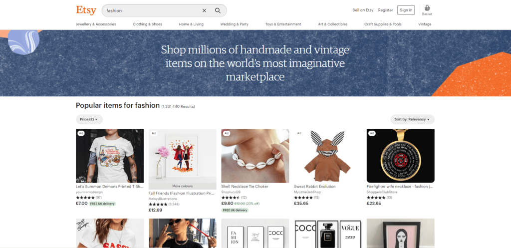 etsy vintage fashion thrift store