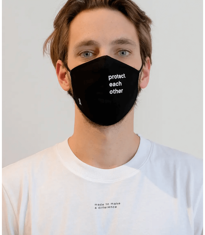 Recycled polyester and cotton sustainable face mask