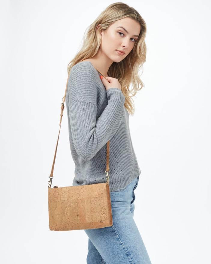 tentree cork handbag