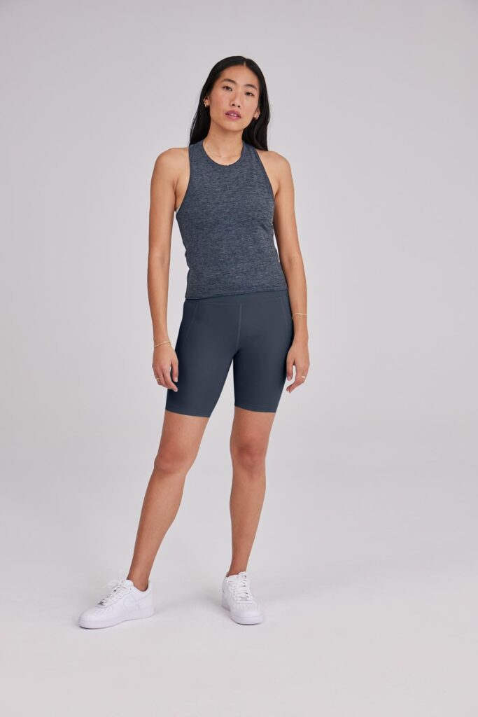 Girlfriend Collective yoga shorts and top