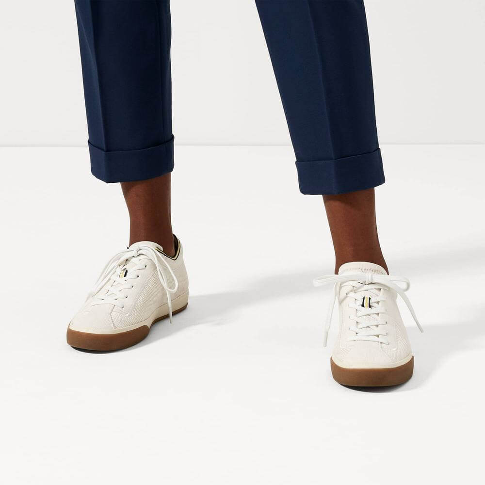 Rothy's lace up sneakers in white made from recycled plastic and cotton
