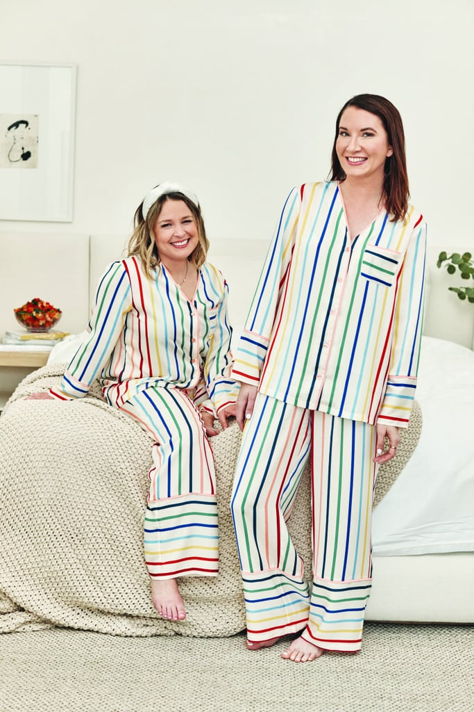 Summersalt recycled eco friendly pajamas in stripes, made from recycled materials