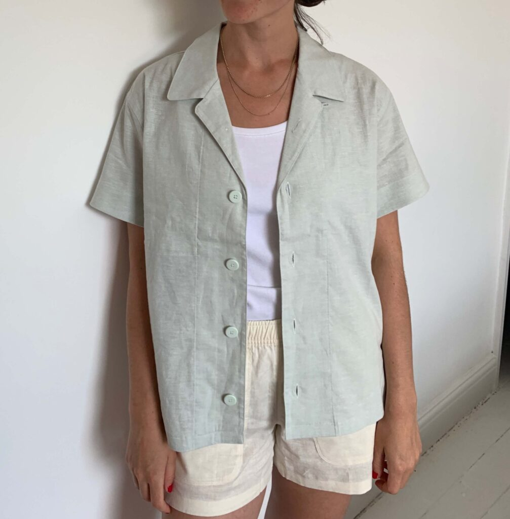 Allbirds camp shirt set in Dryad and Natural White