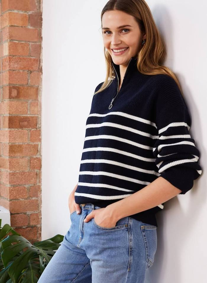 Baukjen sustainable sweater made from merino wool and recycled yarn, jumper with stripes
