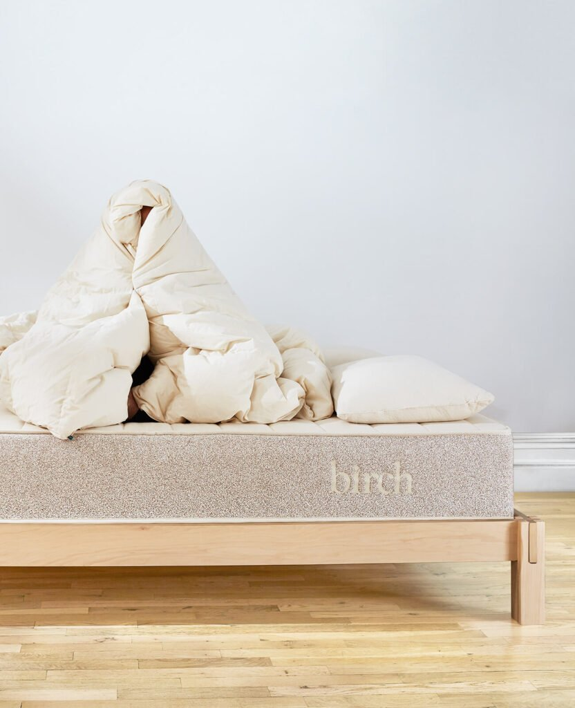 Birch organic cotton comforter with down and wool filling