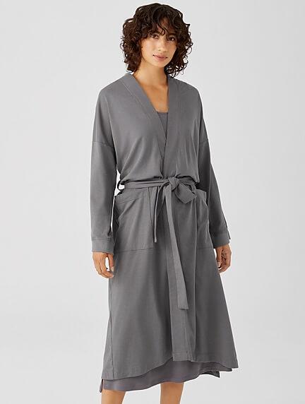 Eileen Fisher organic cotton robe in grey