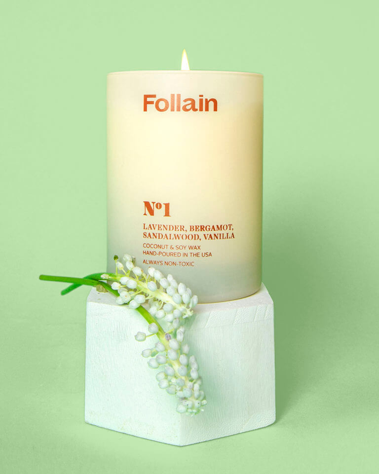 Follain sustainable non toxic candles, soy wax candle