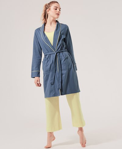 Pact organic cotton robe in blue lightweight and ethically made