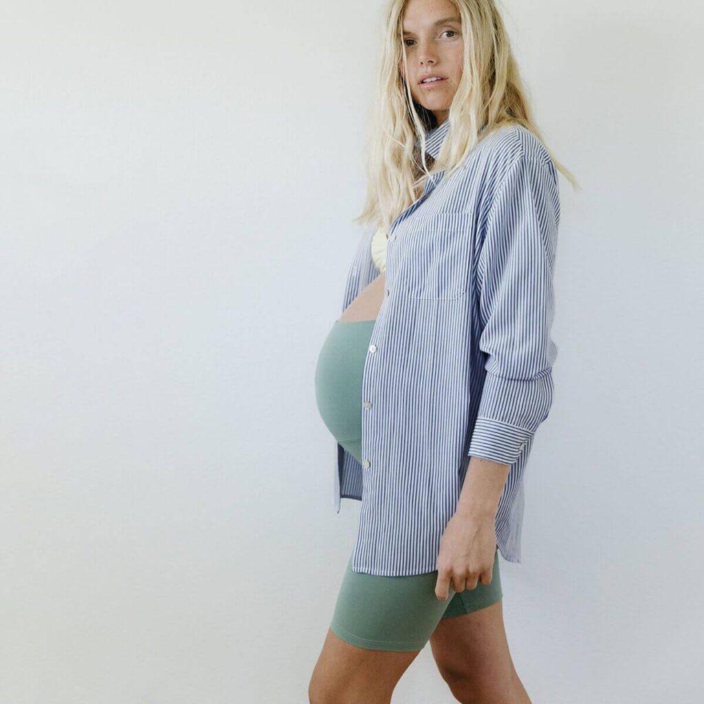 Storq organic maternity button up shirt and shorts