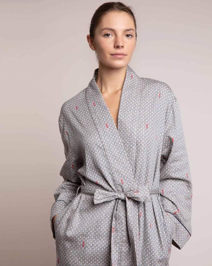 Yawn organic cotton robe in hand drawn pattern