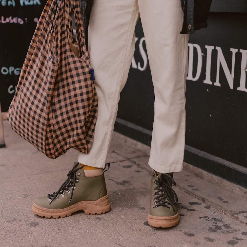 Alice and whittles vegan boots waterproof weekender style in sage green