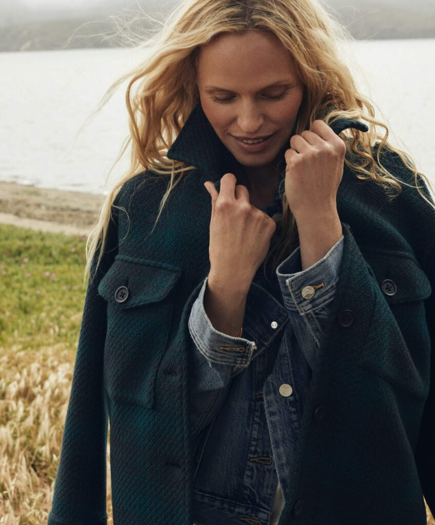 Outerknown responsible clothing company producing sustainable coats and jacketsfeaturing the cloud weave shirt jacket in the image
