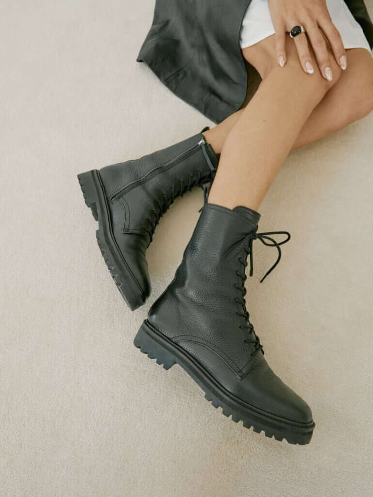 Reformation sustainable and ethical boots, leather lace up combat style boots
