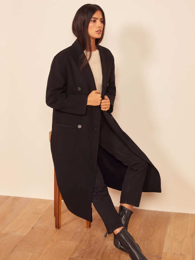 Reformation long wool winter coat produced ethically and sustainably
